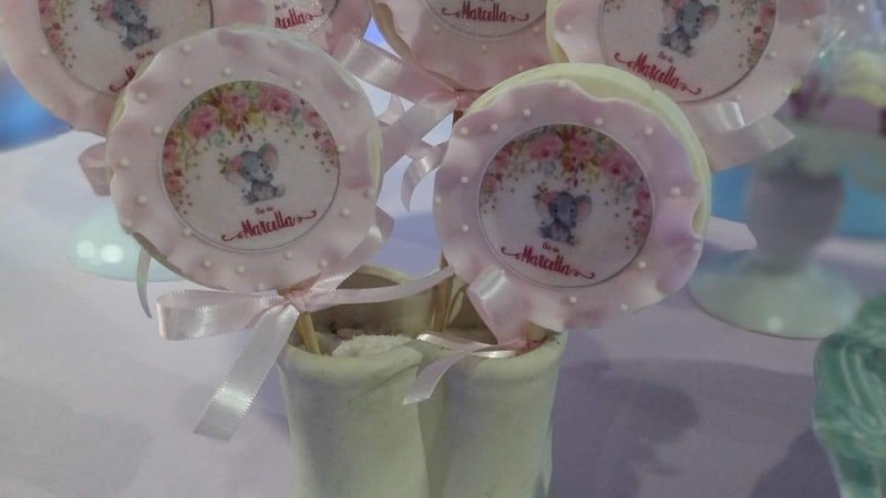 Chá de fraldas - Elefantinho rosa